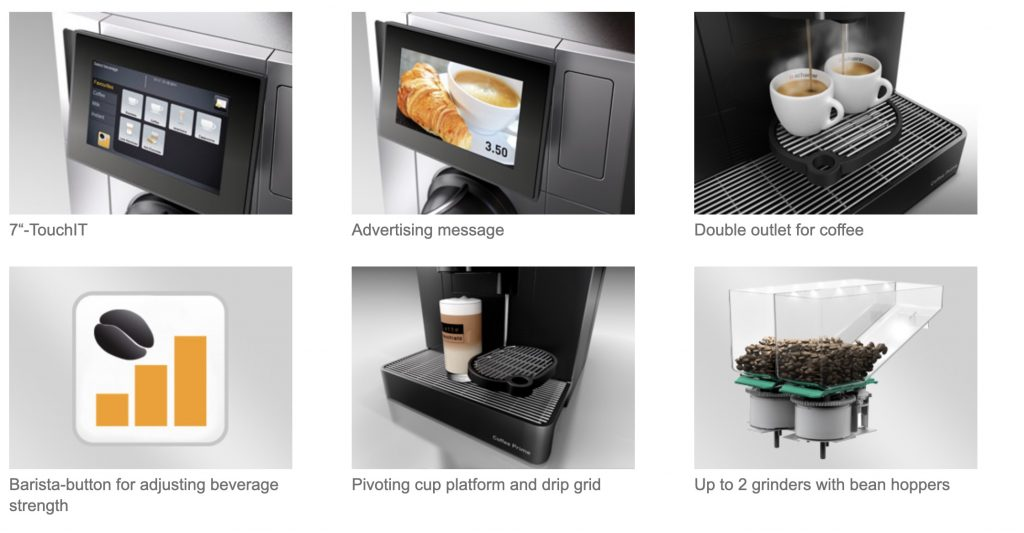 barista button, coffee machine options