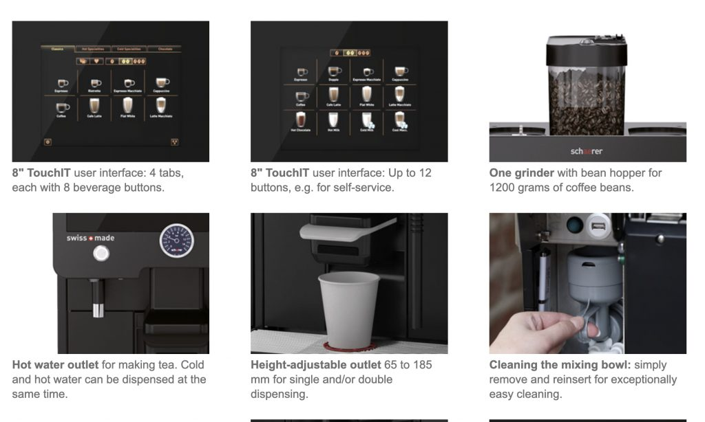 Bean to cup coffee options